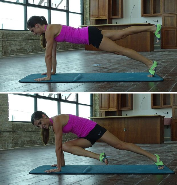 Plank with cross-body tap