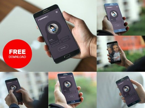 A set of 6 useful Android smartphone mockups built with Photoshop smart objects. Free PSD