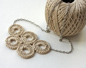 Bubble jewelry Crochet Necklace Neutral cotton circle natural whimsy olympic circles summer spring accessories