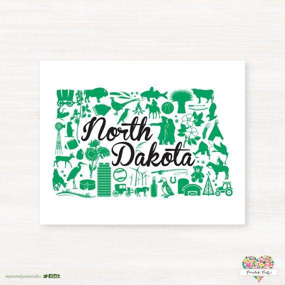University of North Dakota - Grand Forks North Dakota Landmark Giclée Map Art by PaintedPost
