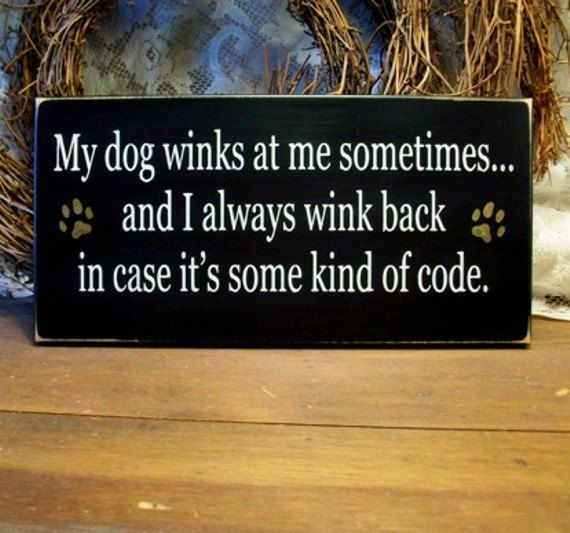 My Dog Winks at Me Painted Wood Sign Primitive Funny Black. $13.95, via Etsy.: Signs, Dogs, Pet, Quote, Dog Winks, Funnies, Animal