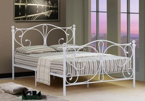 MAINE METAL DOUBLE BED WHITE This beautifully designed bed frame is the latest in modern designer bed frames. Offering a stunning patterned design on both the foot and head end the bed can add style and sophistication to any bedroom.  Bed frame only and self assembly required. For further details visit http://www.lakeland-furniture.co.uk/maine-double-bed-white.html