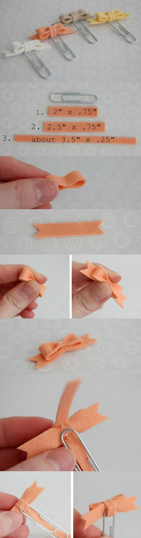 bow clips I know it shows paper clips but I think it would work for hair clips also