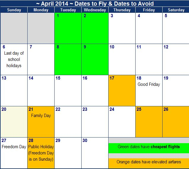 Cheapest dates to fly on and more expensive dates to avoid flying in April 2014 https://www.southafrica.to/transport/Airlines/Kulula-flights/kulula-april.php Based on Kulula airfares.