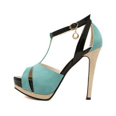 Color Block High Heel Sandals [FABI0265]- US$ 45.99 - PersunMall.com