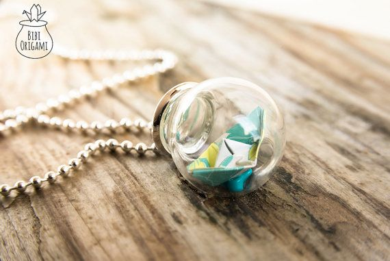 Origami Boat Globe Bottle Pendant Necklace Glass Bottle
