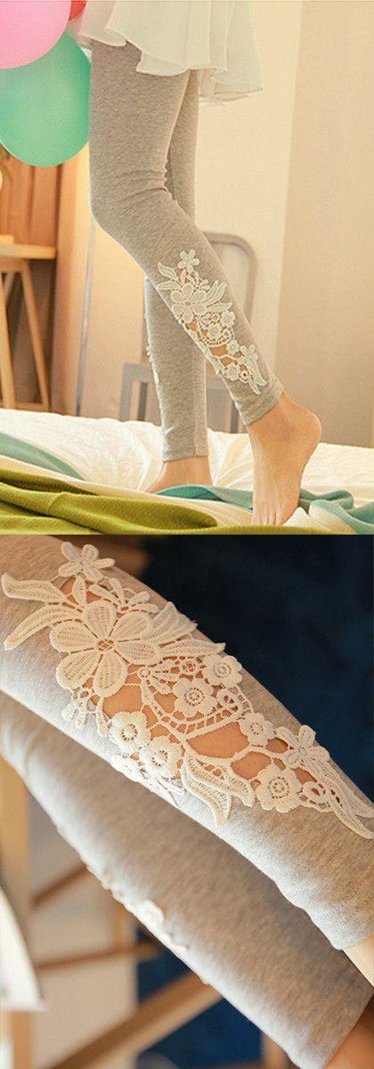 Hollowed Floral Leggings - Grey. Love this!!! #Summer