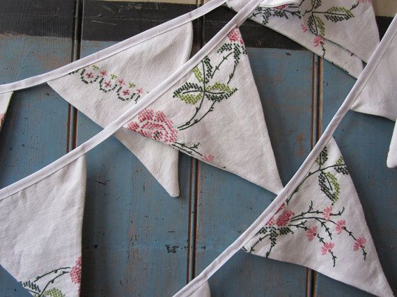 Vintage Tablecloth Bunting. Beautiful wedding bunting in off white with pink and green embroidered detail, a 6m strand with 19 triangles. $86.67 + postage from UK
