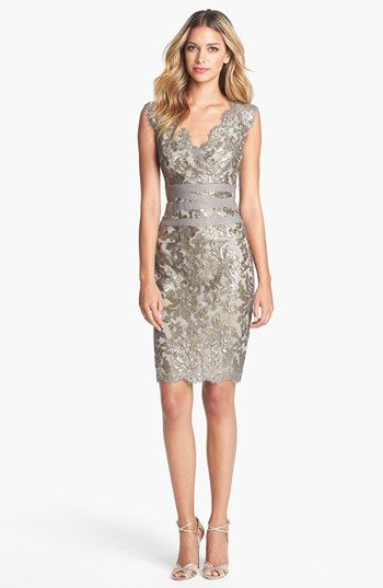 "This dress would be gorgeous as a contemporary bridesmaid dress. So many different colors of flowers would really ""pop"" against the dress, and it's a style that any bridesmaid would love to wear. Absolutely gorgeous. Tadashi Shoji Embellished Metallic Lace Sheath Dress available at #Nordstrom"