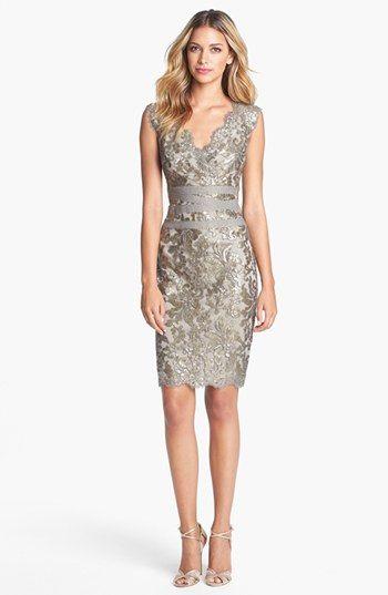 Tadashi Shoji Embellished Metallic Lace Sheath Dress available at #Nordstrom