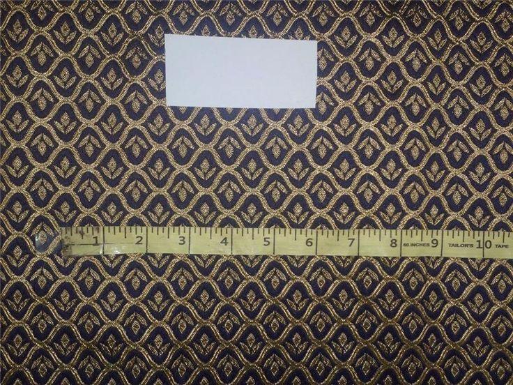 "Brocade Fabric Dark Royal Blue x Gold Color 48"""