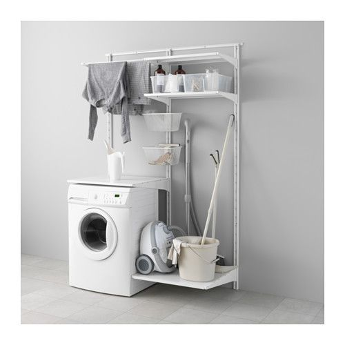 ALGOT Wall upright/could do stacked washer/dryer and a high drying rack--would leave room for vacuum/buckets