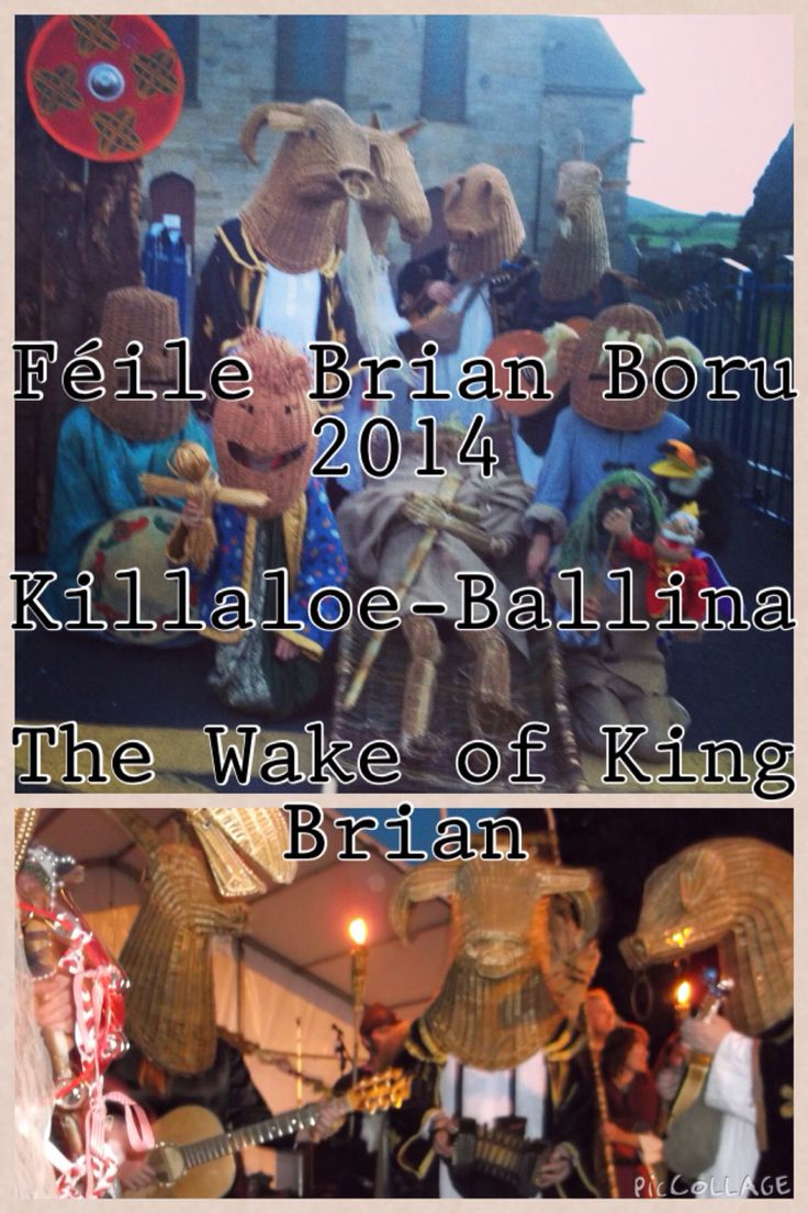 "Féile Brian Boru 2014   (The Wake of King Brian)  Killaloe - Ballina  We performed a ritual & procession through the town of Killaloe, Co. Clare & across the bridge into Ballina, Co. Tipp in July 2014. Killaloe is the birthplace of Brian Boru, High King of Ireland & this festival was recognition of the Millenium year of his death - his ""corpse"" was presented to The Armagh Rhymers because Brian's final resting place is at St Patrick's (CoI) Cathedral, Armagh"