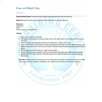 Substitute Science Lesson Plan: Day and Night Sky - All Products