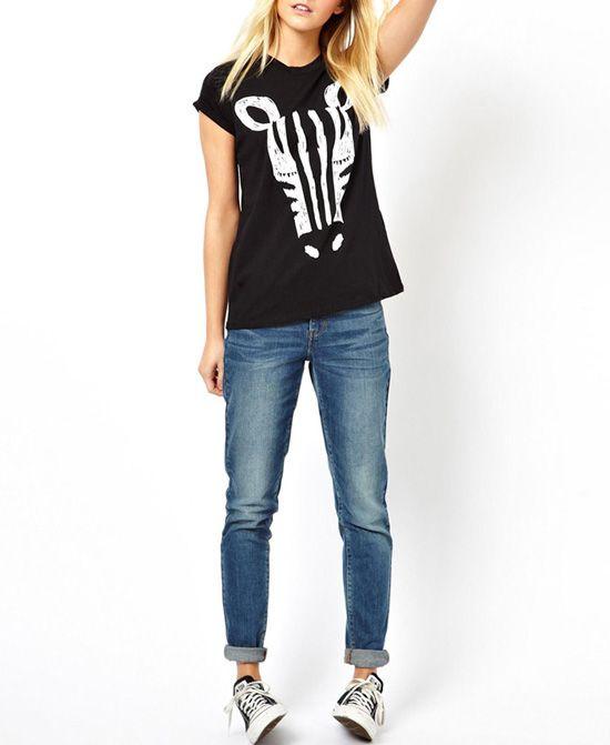 Zebra Print Short Sleeves Black T-shirt