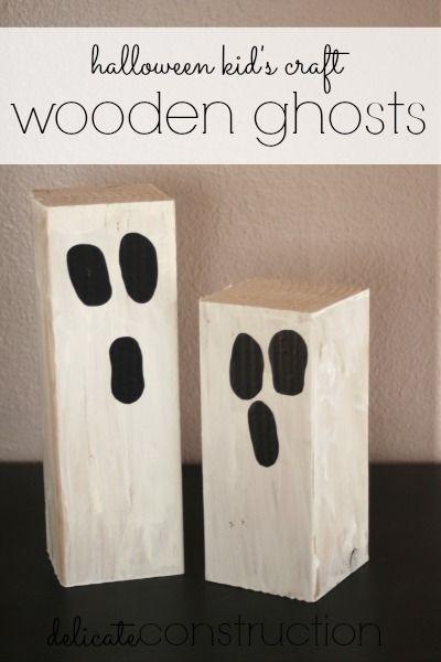 Halloween Kid's Craft {Wooden Ghosts}