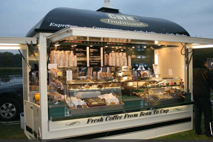 Open front box style Coffee and Bakery BOOTH not Truck... with lights under side flaps...