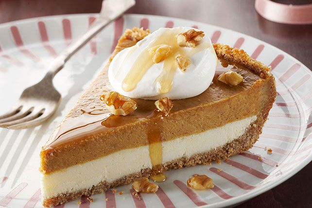 COOL WHIP Whipped Topping, maple syrup and chopped walnuts top this cream cheese-and-pumpkin pie, making it as pretty as it is scrumptious.