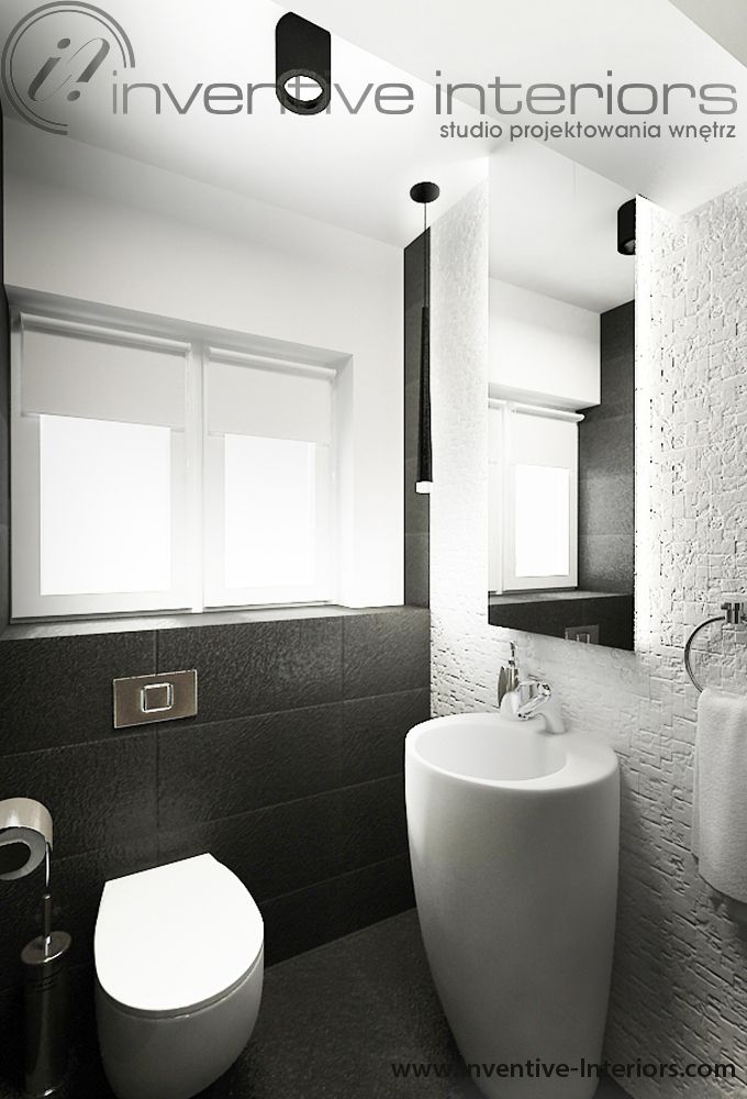 Projekt wnętrz Inventive Interiors - czarno-biała łazienka z kamieniem i umywalką wolnostojącą