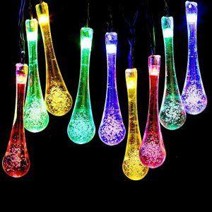 Guirlandes Lumineuses Solaires, Rixow 6M 30 LED Gouttes d'Eau Lumière de Noël, Éclairage Décoratif en Intérieur et Extérieur de Maison,…