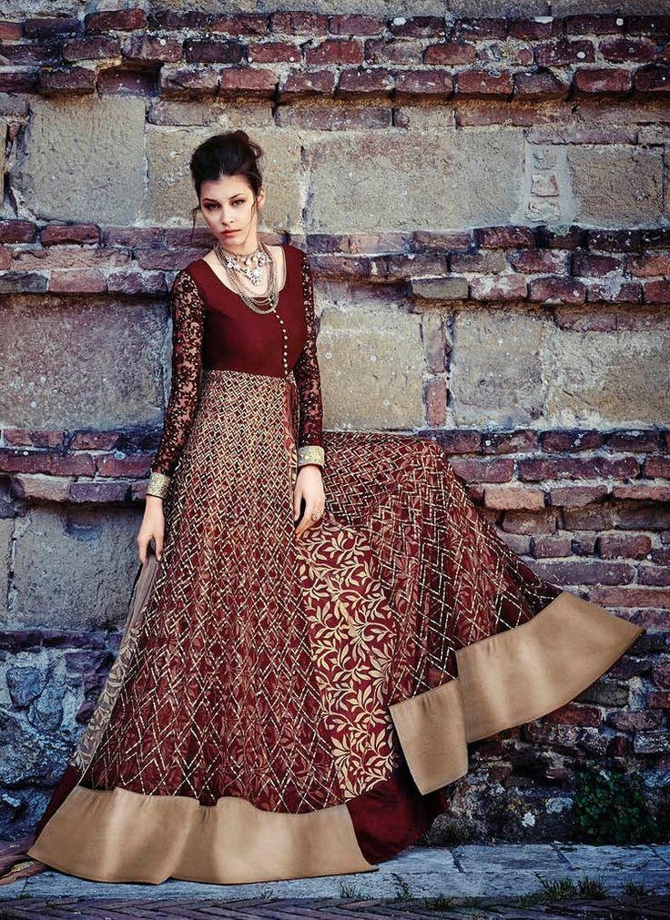 Maroon Net Salwar Kameez #indiandresses #indianweddingdresses
