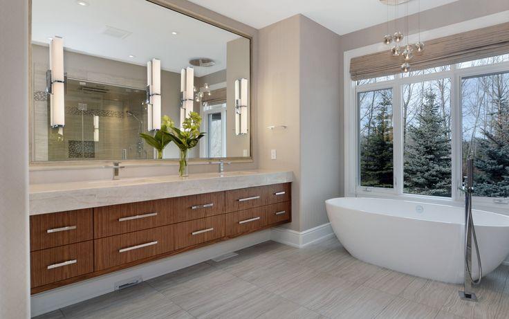 Contemporary Lakehouse Master Bathroom by Johnson & Associates Interior Design