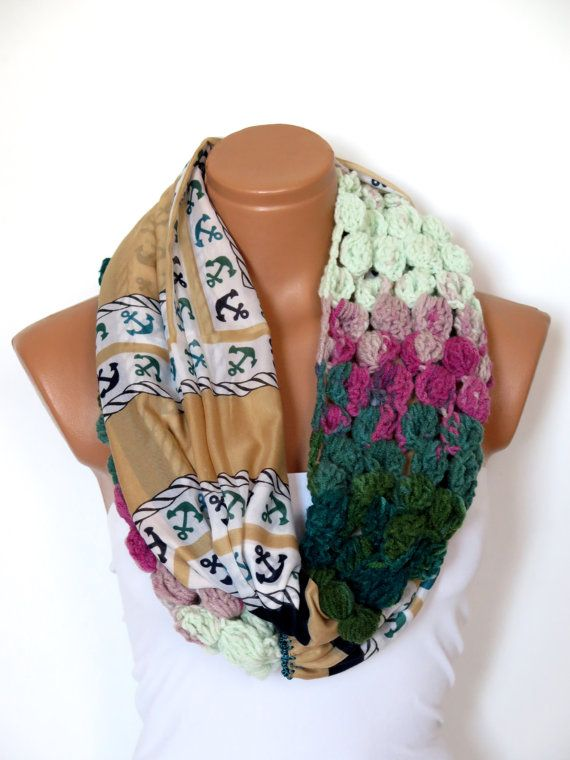 sailor anchor Scarf Women's Cotton Fabric Scarf by WomanStyleShop