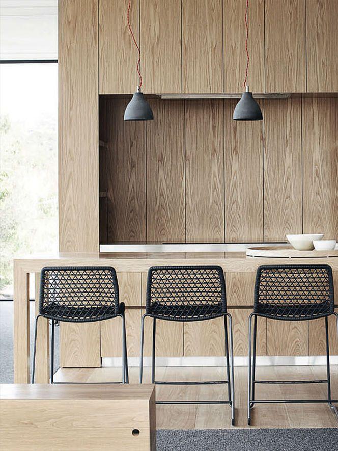 Wood kitchen+ black stools