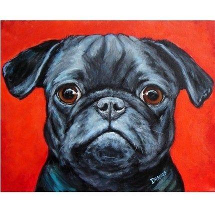 Black Pug on Red Dog Art 8x10 Print, Painted by Dottie Dracos | LarkStudios - Print on ArtFire