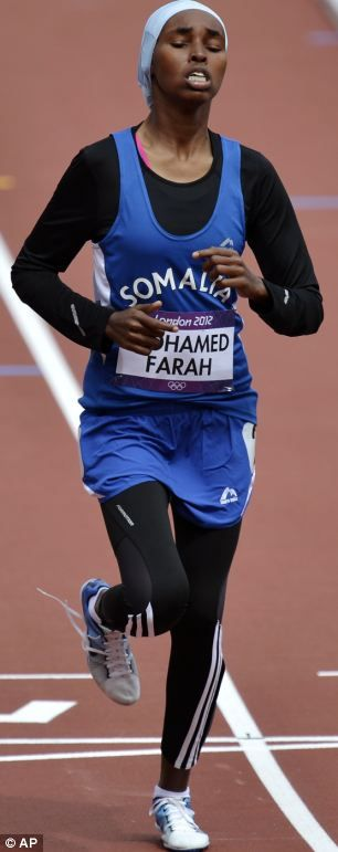 Last but not least: Somalia's Zamzam Mohamed Farah crosses the finish line of a women's 400-meter heat