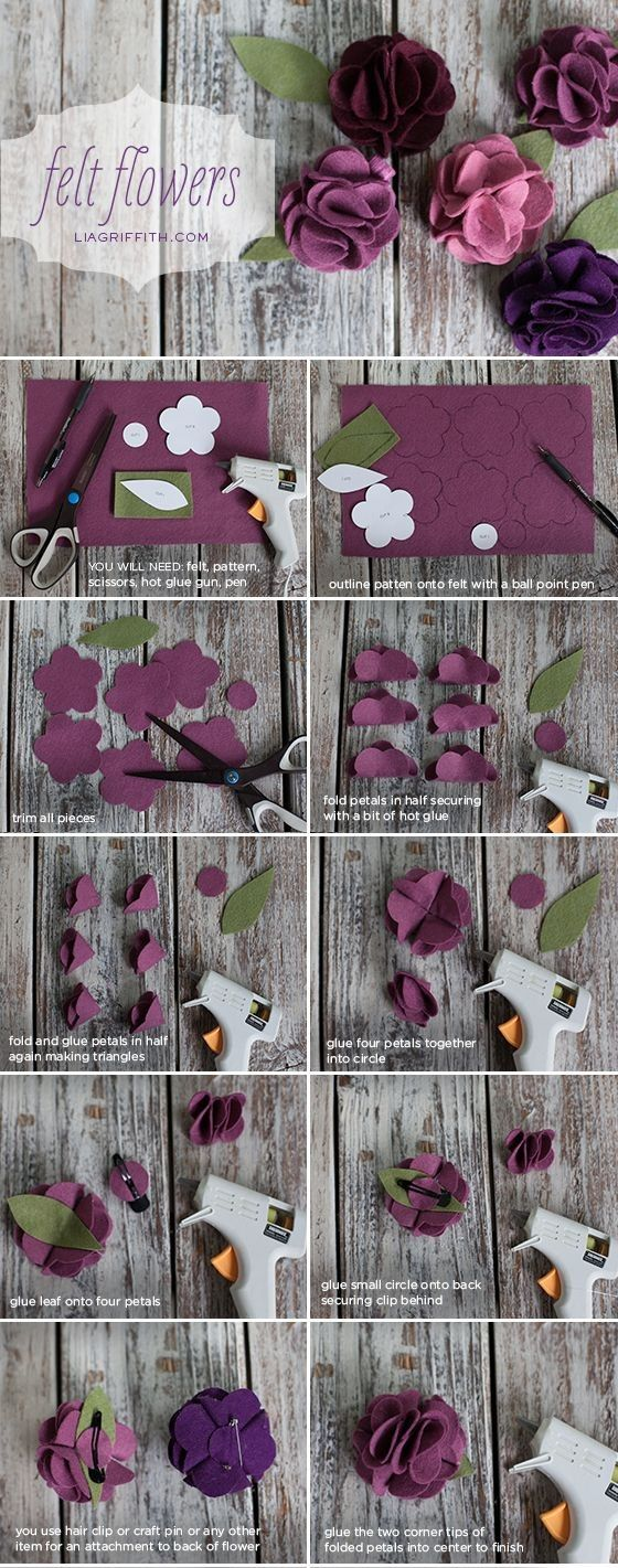 diy chic purple felt flowers crafts tutorial - scissors, pen, hot glue gun, gift decoration