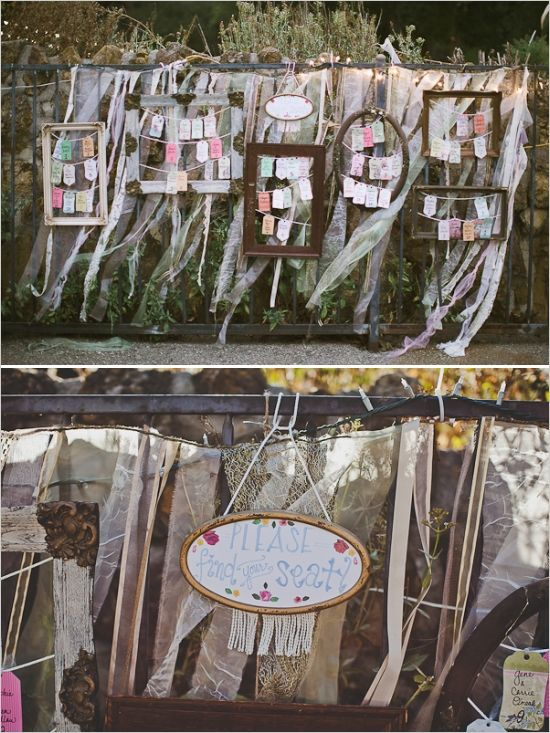 diy framed hanging escort card wall #escortcards #diy #weddingchicks http://www.weddingchicks.com/2014/02/03/malibu-forest-diy-wedding/