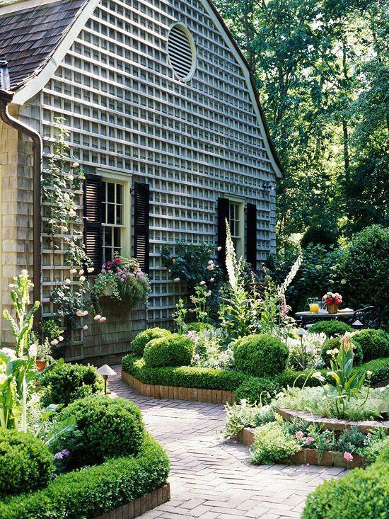Terrace garden - trellis for climbers