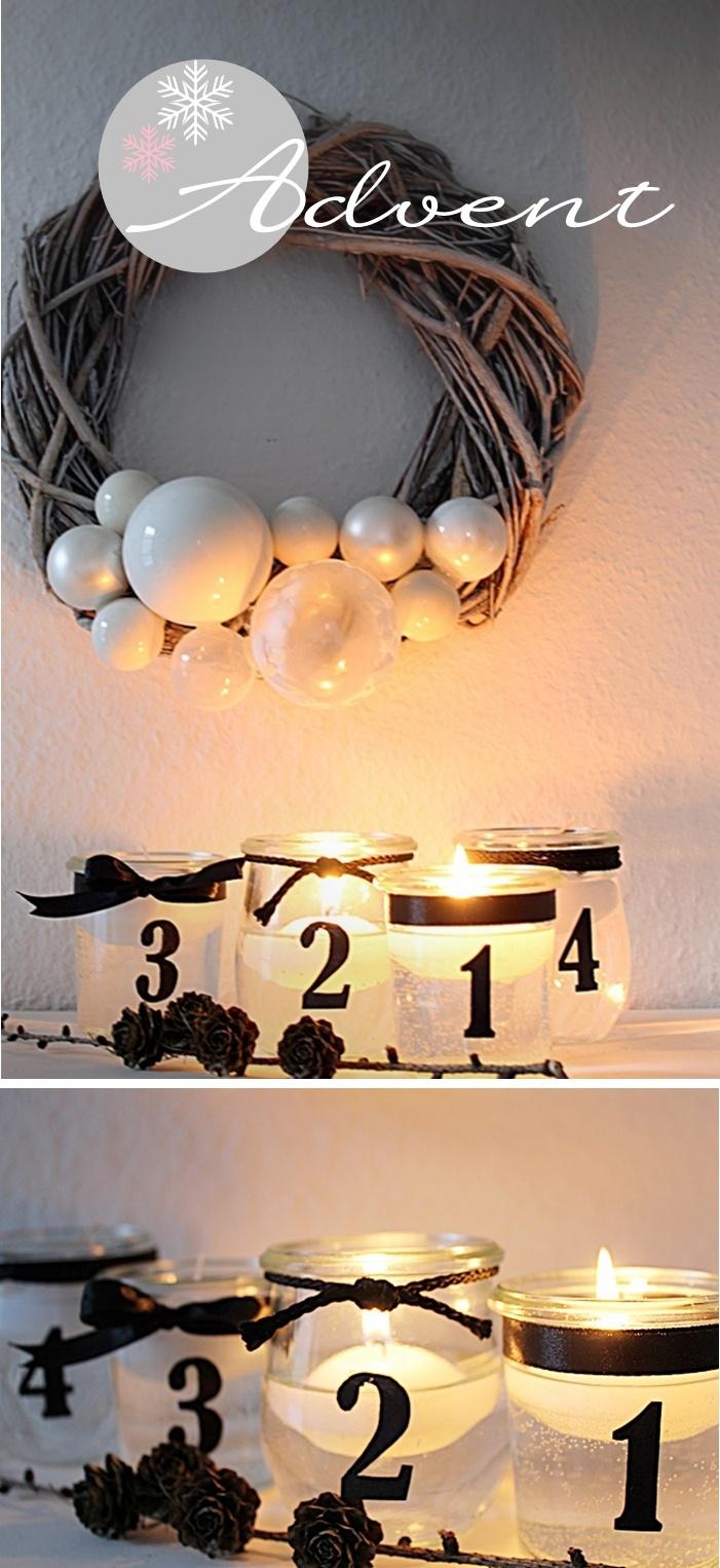 christmas decor - lights - candles - jars - advent