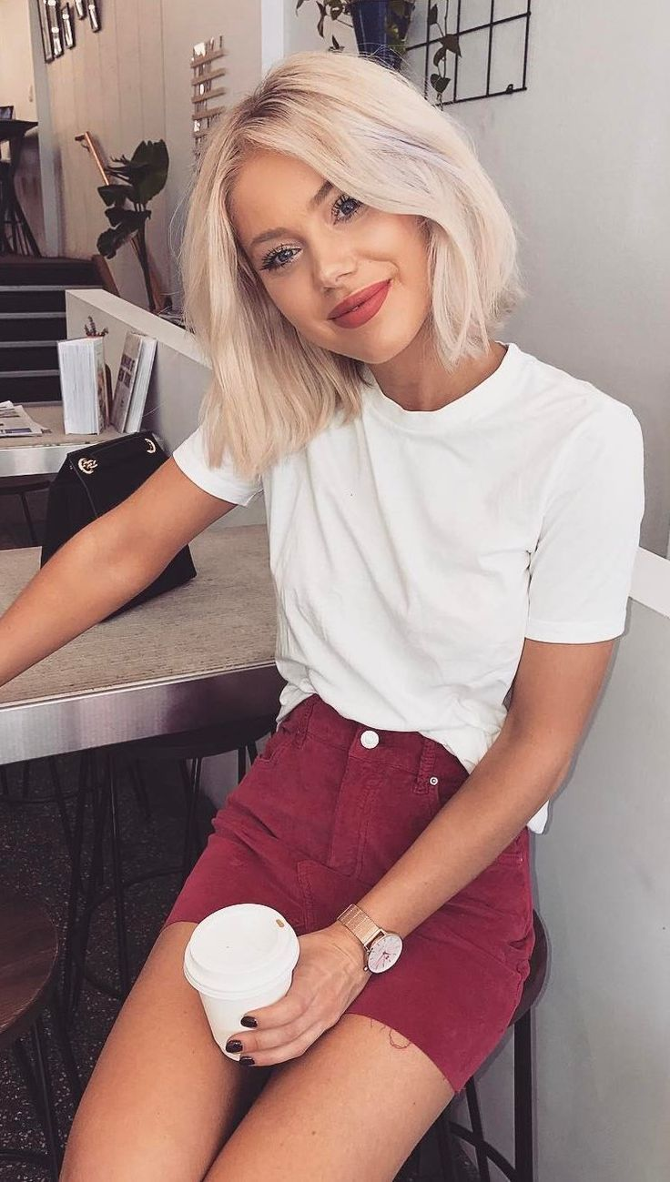 #spring #outfits White Tee + Red Denim Skirt