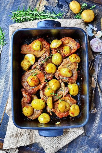 Herbed Pork Blade with Roasted New Potatoes-add in some mixed veggies