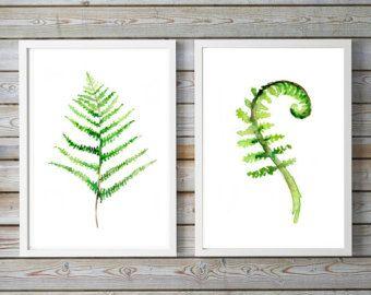Set of 2 fern paintings - Art prints - fern watercolor - watercolour paintings - fern art - fern decor - nature print plants green decor