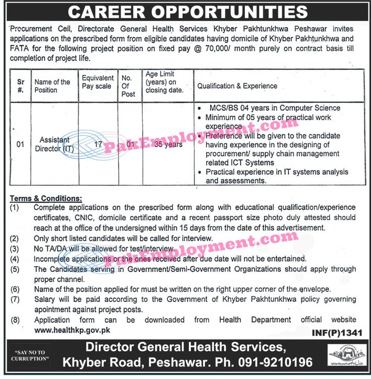 Directorate General Health Services Peshawar KPK Jobs 2017Vacancy  Assistant Director (IT)  Terms & Conditions  Only short Listed candidates should call for interview  No TA/DA shall be admissible  Govt employee apply through proper channel  Download Application Form from www.healthkp.gov.pk