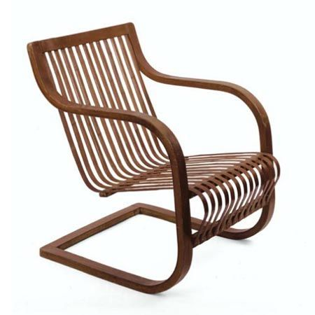 Charlotte Perriand; Molded Plywood and Bamboo Experimental Chair, 1941