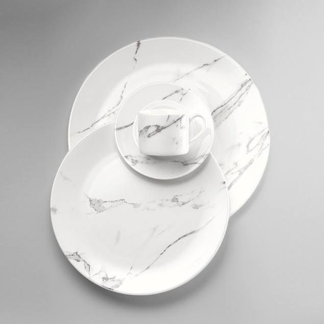 Carrara marble inspired china.