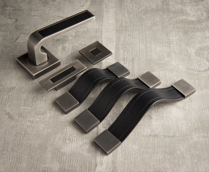 black leather with vintage matt nickel leather strap handles