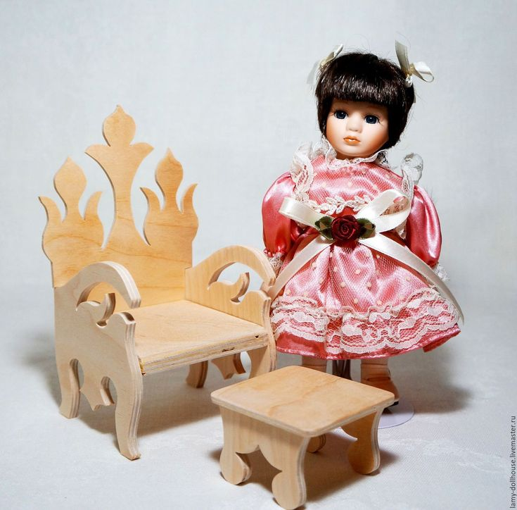 Купить Трон для куклы (стул, кресло) - комбинированный, кресло для куклы, кресло дя кукол