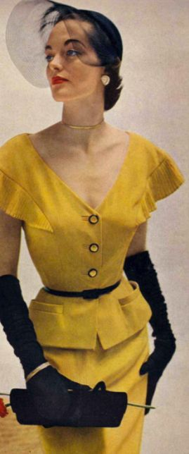 1950'sVintage Fashion, 1950S Black Women, 1950S Bags Vintage, Yellow Suit, 1950S Dresses Yellow, 1950S Chic, 1950 S Fashion, Classic 1950 S, Yellow 1950