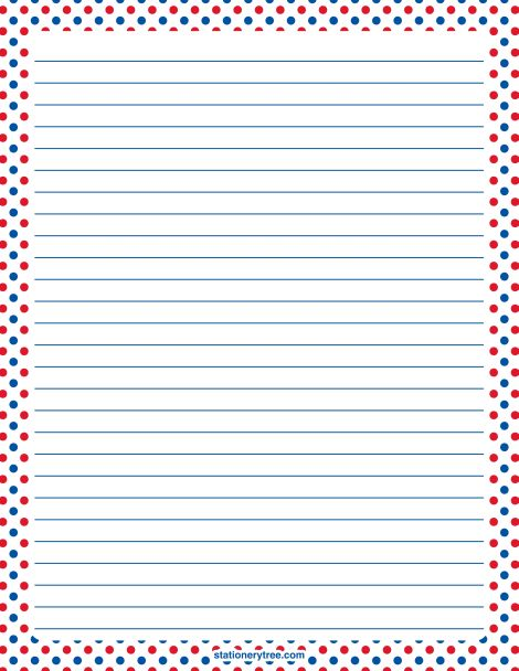 Printable patriotic red, white, and blue polka dot stationery and writing paper. Multiple versions available with or without lines. Free PDF downloads at http://stationerytree.com/download/red-white-and-blue-polka-dot-stationery/