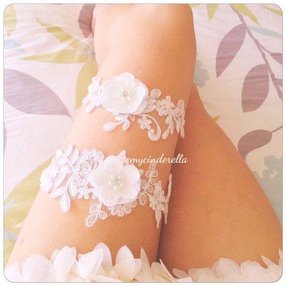 De novia blanco Liga set flor Liga novia por BemycinderellaEtsy
