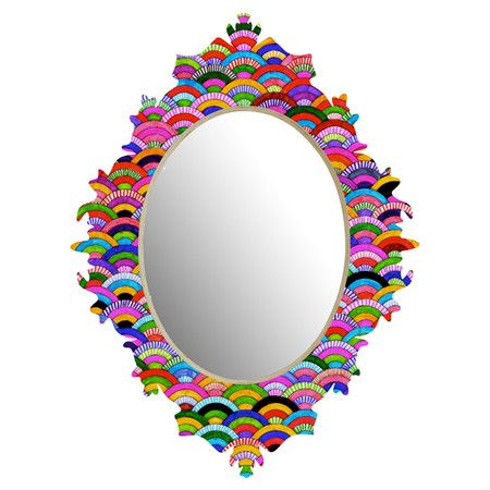 Wall mirror with a multicolor aluminum-plated frame and Baroque-inspired silhouette. Made in the USA. Product: Wall mirror...