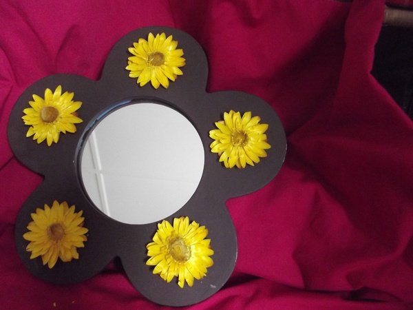Hand painted and decorated flower mirror by talented contributor bal maiden crafts