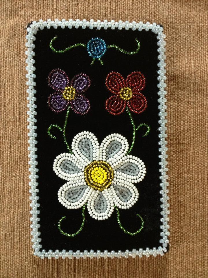 Phone case- black velvet ojibwe floral 2013- beaded by Jessica gokey