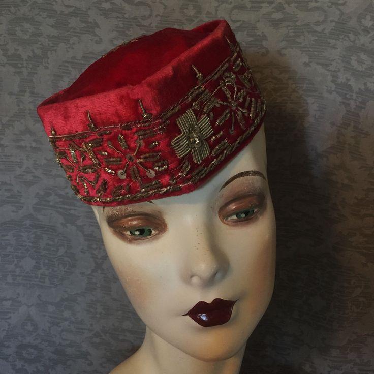 Rare Plush Rose Velvet, Gold Bullion Jinnah Hat, Smoking Hat, Alim Cap Store, Calcutta, India ; Muslim, Islamic by UnforgettableVintage on Etsy https://www.etsy.com/listing/479529025/rare-plush-rose-velvet-gold-bullion