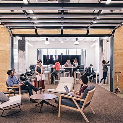 """#FitoutFriday """"No global movement springs from individuals. It takes an entire team united behind something big. Together, we work hard, we laugh a lot, we brainstorm nonstop, we use hundreds of Post-Its a week, and we give the best high-fives in town"""". That's the mantra of @Airbnb and their open plan workspace certainly proves that."""